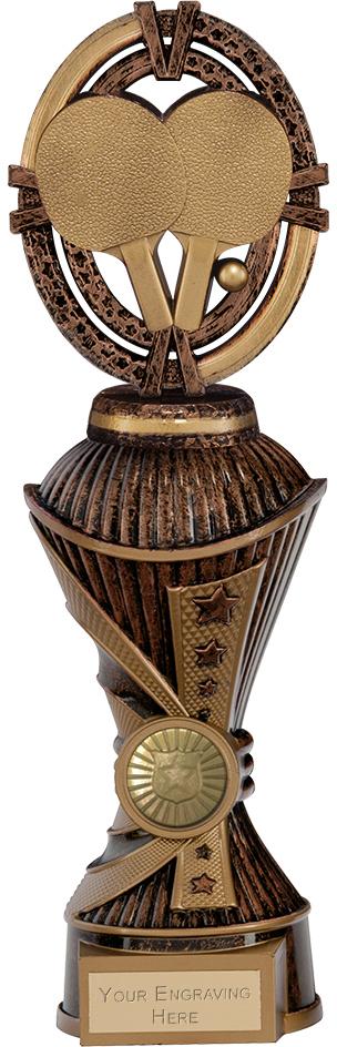 "Maverick Table Tennis Heavyweight Trophy Antique Bronze & Gold 26.5cm (10.5"")"