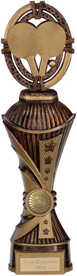 "Maverick Table Tennis Heavyweight Trophy Antique Bronze & Gold 30.5cm (12"")"