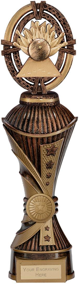 """Maverick Ten Pin Heavyweight Trophy Antique Bronze & Gold 30.5cm (12"""")"""