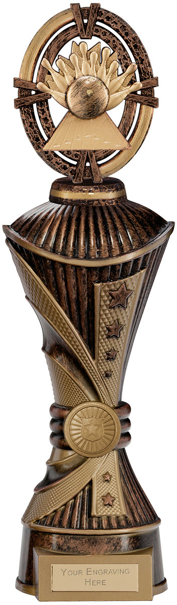 """Maverick Ten Pin Heavyweight Trophy Antique Bronze & Gold 33cm (13"""")"""