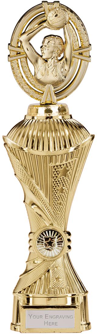 """Maverick Netball Heavyweight Trophy Gold 30.5cm (12"""")"""
