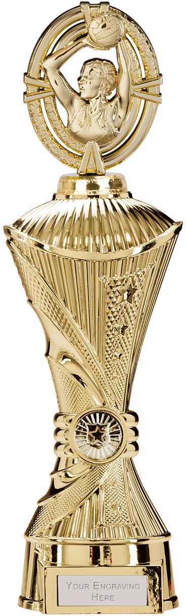 """Maverick Netball Heavyweight Trophy Gold 33cm (13"""")"""