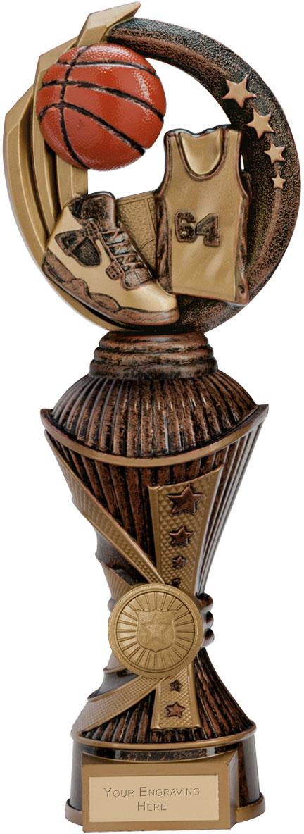 """Renegade Basketball Heavyweight Trophy Antique Bronze & Gold 28.5cm (11.25"""")"""