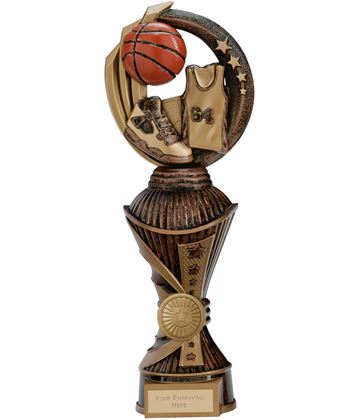 "Renegade Basketball Heavyweight Trophy Antique Bronze & Gold 28.5cm (11.25"")"