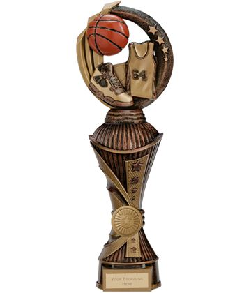"Renegade Basketball Heavyweight Trophy Antique Bronze & Gold 30cm (11.75"")"