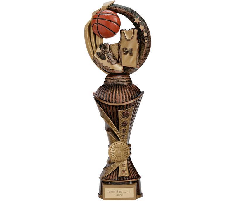 """Renegade Basketball Heavyweight Trophy Antique Bronze & Gold 30cm (11.75"""")"""
