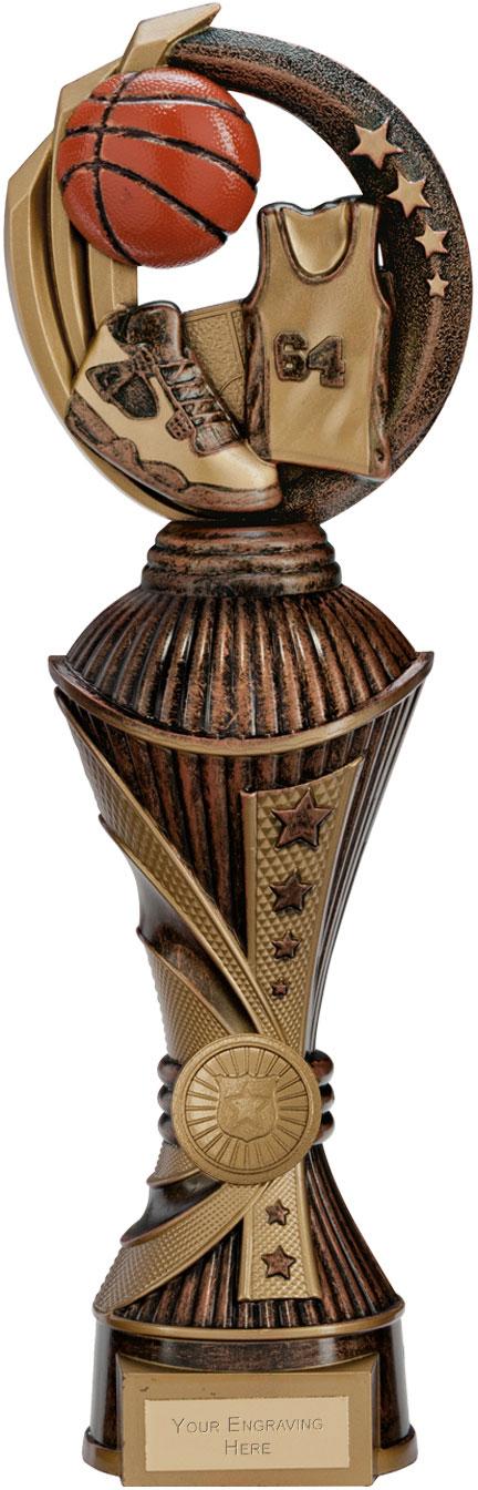 """Renegade Basketball Heavyweight Trophy Antique Bronze & Gold 32cm (12.5"""")"""