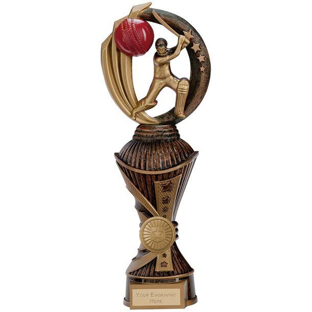 "Renegade Cricket Heavyweight Trophy Antique Bronze & Gold 28.5cm (11.25"")"