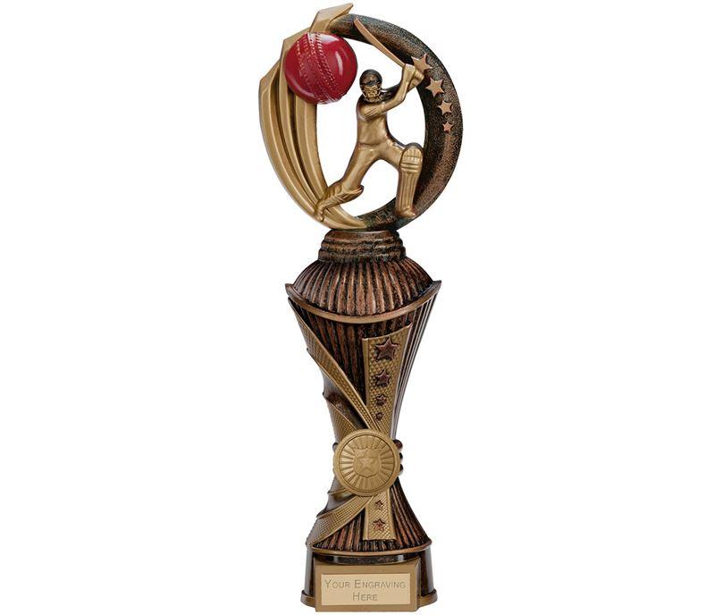 "Renegade Cricket Heavyweight Trophy Antique Bronze & Gold 30cm (11.75"")"