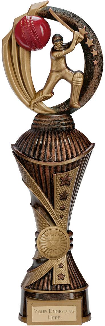 "Renegade Cricket Heavyweight Trophy Antique Bronze & Gold 32cm (12.5"")"