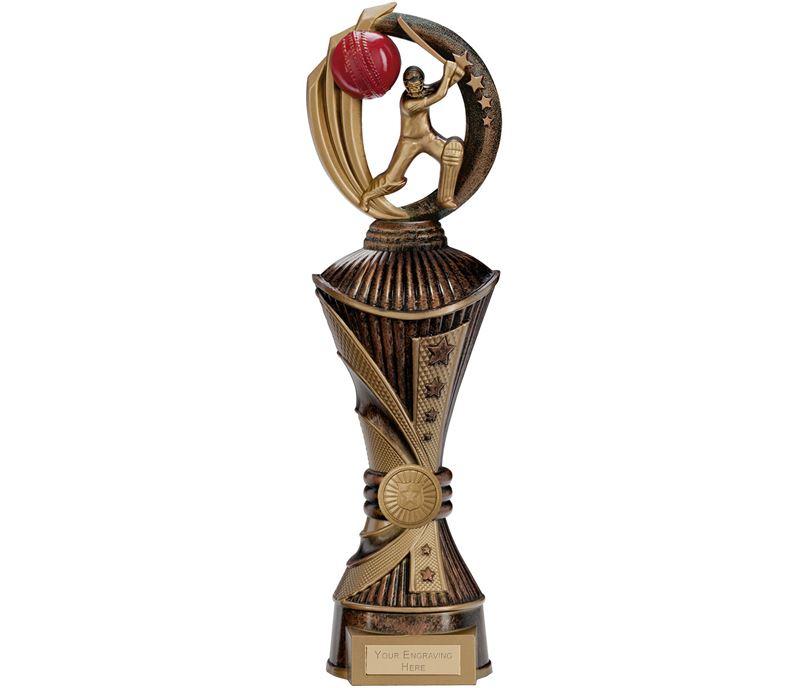"Renegade Cricket Heavyweight Trophy Antique Bronze & Gold 35cm (13.75"")"