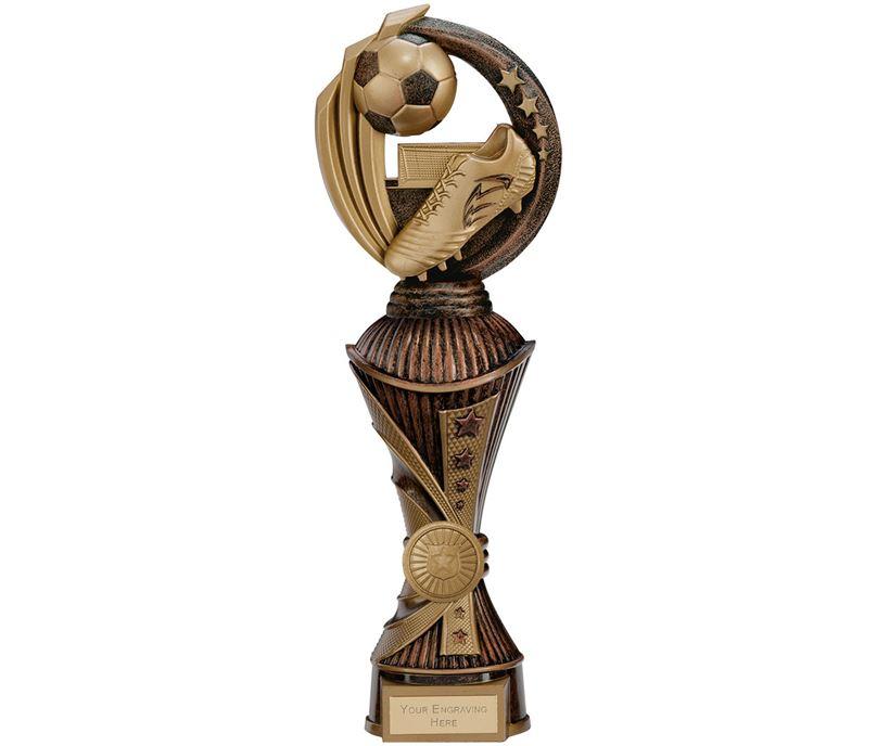 """Renegade Football Heavyweight Trophy Antique Bronze & Gold 30cm (11.75"""")"""