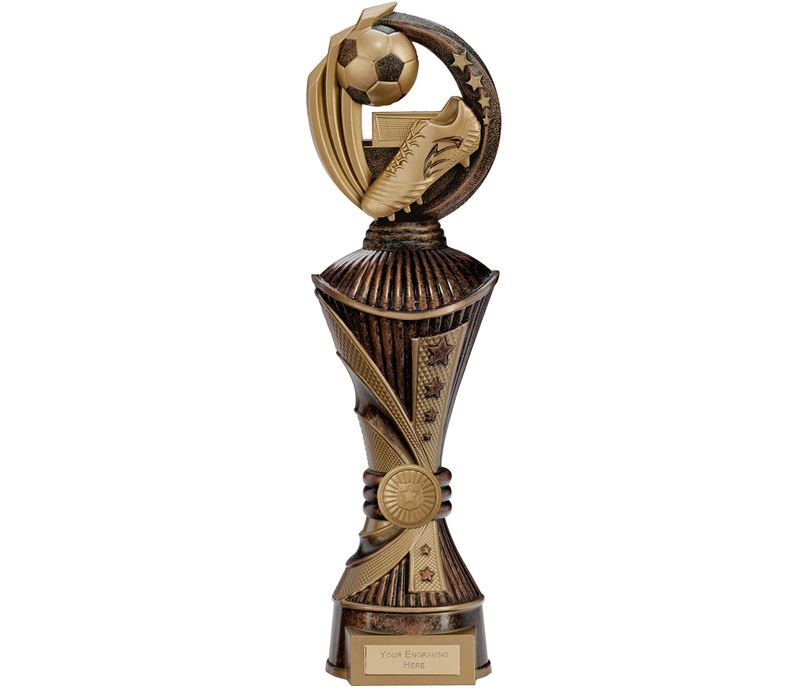 """Renegade Football Heavyweight Trophy Antique Bronze & Gold 35cm (13.75"""")"""