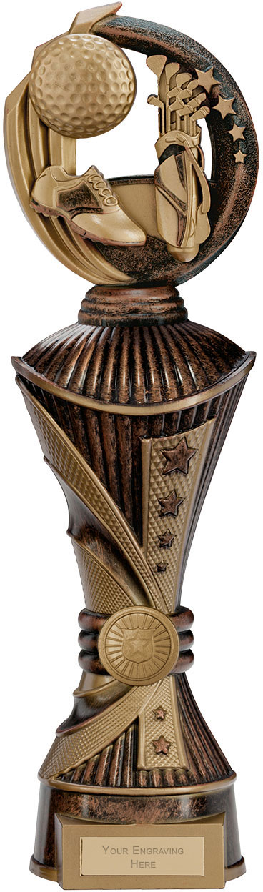 """Renegade Golf Heavyweight Trophy Bronze & Antique Gold 35cm (13.75"""")"""