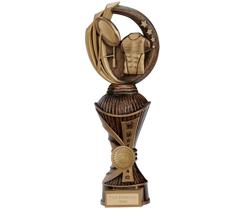 "Renegade Rugby Heavyweight Trophy Antique Bronze & Gold 28.5cm (11.25"")"