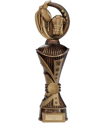"Renegade Rugby Heavyweight Trophy Antique Bronze & Gold 35cm (13.75"")"