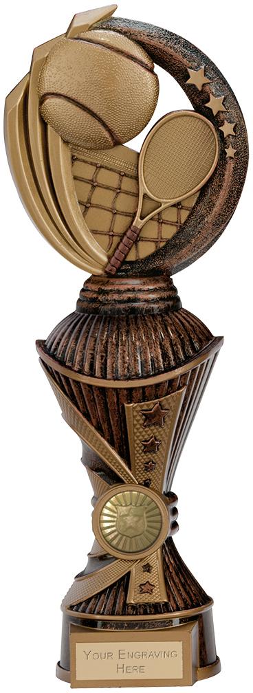 "Renegade Tennis Heavyweight Trophy Antique Bronze & Gold 28.5cm (11.25"")"