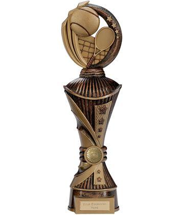 "Renegade Tennis Heavyweight Trophy Antique Bronze & Gold 35cm (13.75"")"