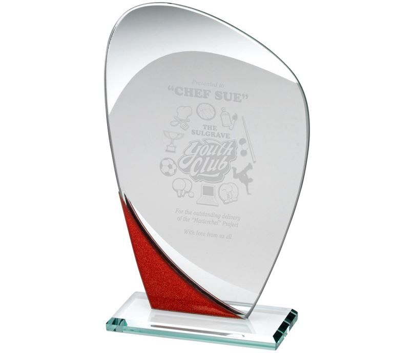 "Red Glitter & Clear Curved Glass Award 20cm (8"")"