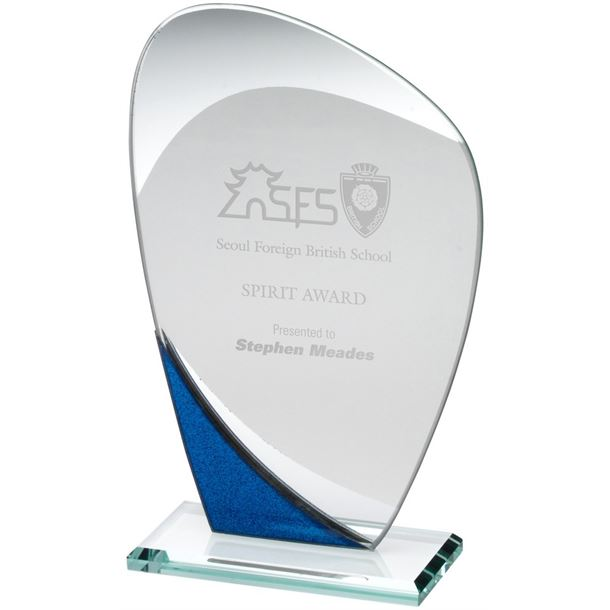 "Blue Glitter & Clear Curved Glass Award 20cm (8"")"