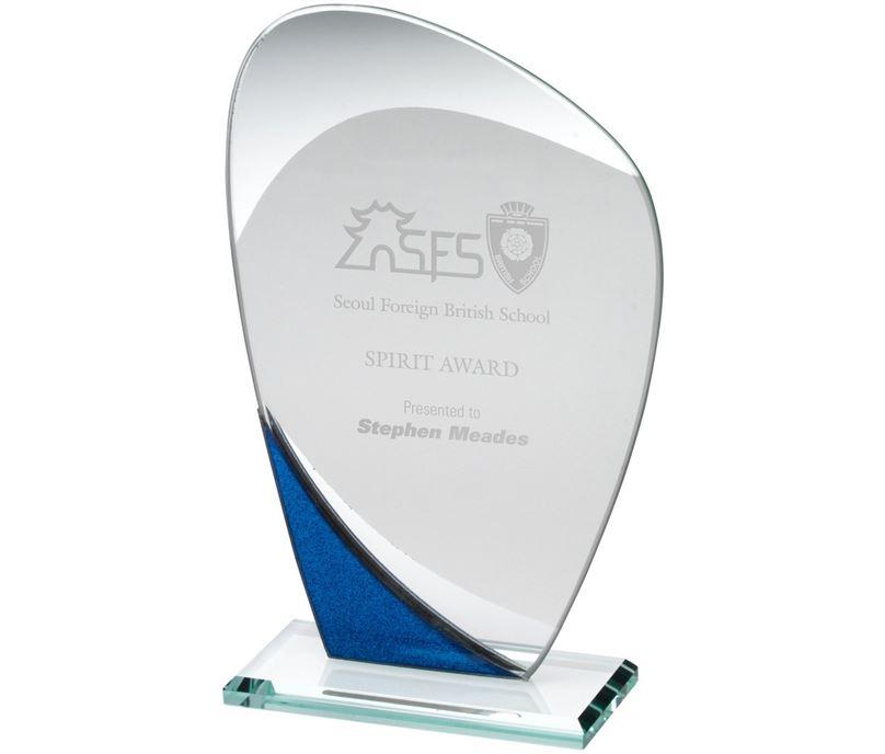 "Blue Glitter & Clear Curved Glass Award 20cm (8"")"
