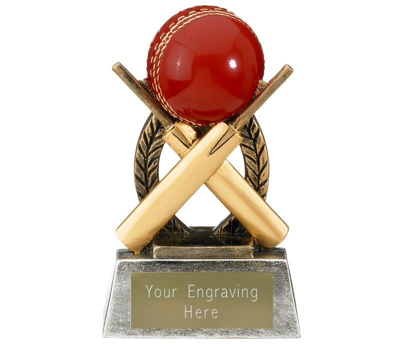 "Escapade Cricket Ball and Bats Trophy 10.5cm (4"")"