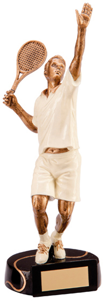 """Resin Extreme Action Male Tennis Figure Trophy 18.5cm (7.25"""")"""
