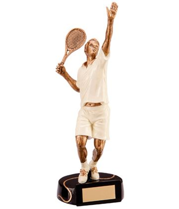 "Resin Extreme Action Male Tennis Figure Trophy 23.5cm (9.25"")"