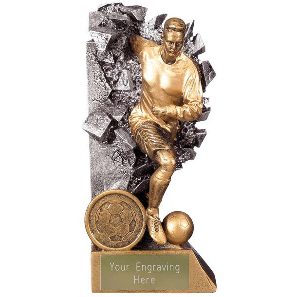 """Breakout Male Footballer Trophy Gold & Silver 15cm (6"""")"""