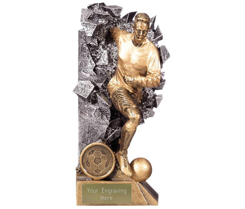 """Breakout Male Footballer Trophy Gold & Silver 18cm (7"""")"""