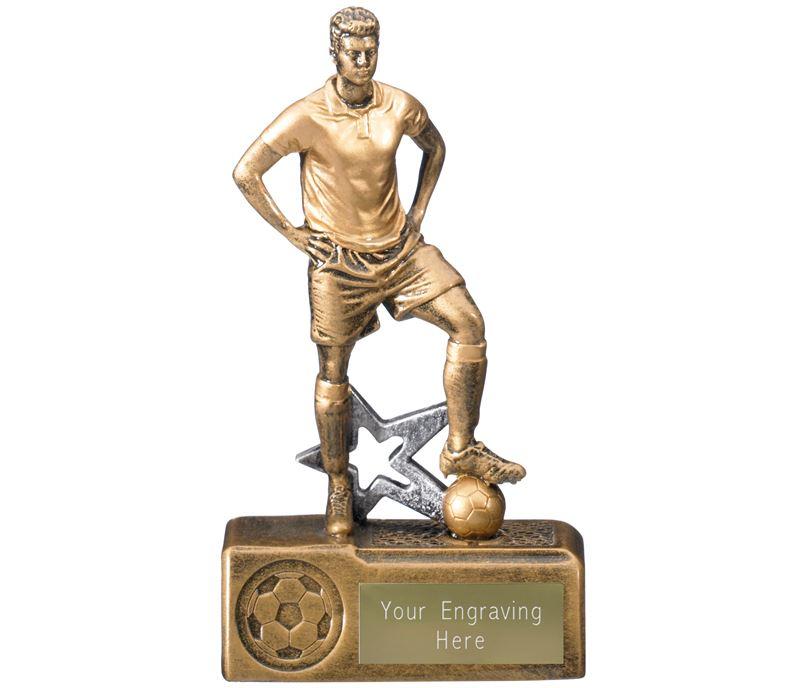 """Victorem Male Footballer Trophy Antique Gold 16cm (6.5"""")"""