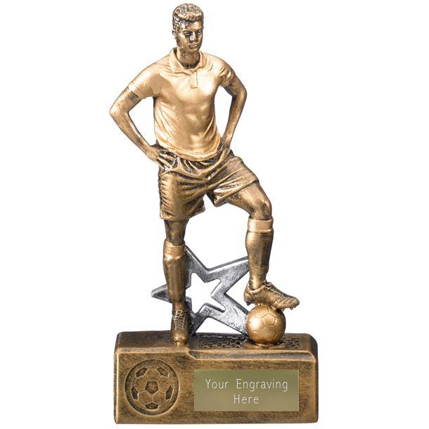 """Victorem Male Footballer Trophy Antique Gold 20cm (8"""")"""