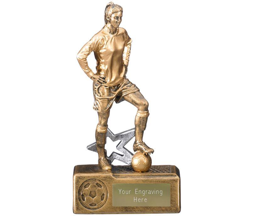"""Victorem Female Footballer Trophy Antique Gold 18cm (7.25"""")"""