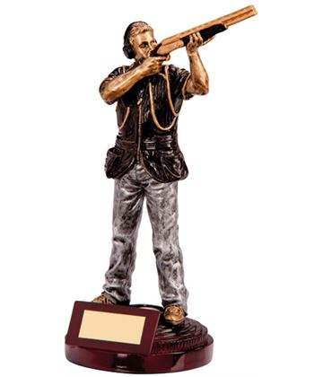 """Black & Silver Extreme Clay Pigeon Figure Trophy 21.5cm (8.5"""")"""