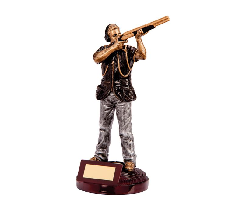 "Black & Silver Extreme Clay Pigeon Figure Trophy 21.5cm (8.5"")"