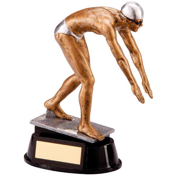 "Resin Extreme Male Swimming Figure Trophy 17cm (6.75"")"