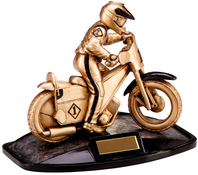 "Gold Resin Motion Extreme Speedway Racing Trophy 17cm (6.75"")"