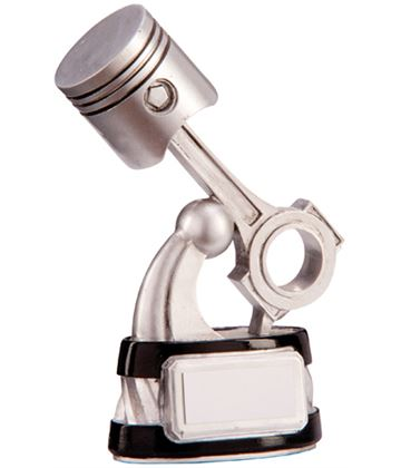 "Silver & Black Resin Motorsport Piston Trophy 14cm (5.5"")"