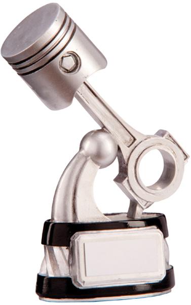 "Silver & Black Resin Motorsport Piston Trophy 16cm (6.25"")"
