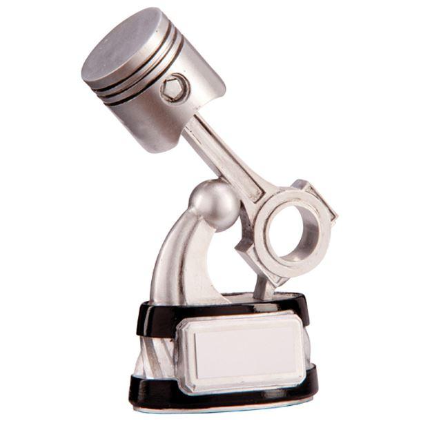 "Silver & Black Resin Motorsport Piston Trophy 18.5cm (7.25"")"
