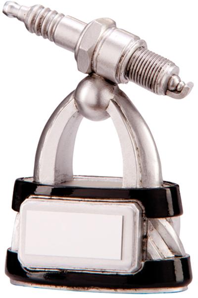 """Silver & Black Resin Motorsport Spark Plug Trophy 16cm (6.25"""")"""