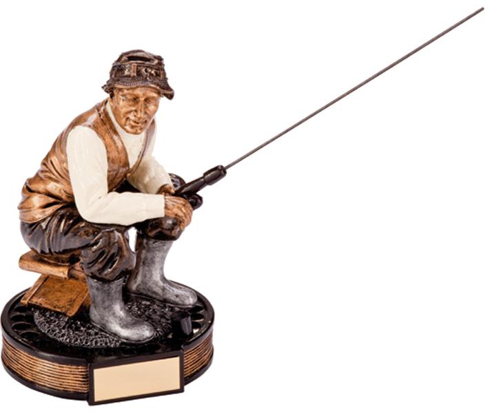 "Gold & Silver Resin Challenger Fisherman Figure Trophy 16cm (6.25"")"