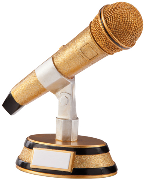 "Gold & Black Resin Karaoke Microphone Trophy 17.5cm (6.75"")"