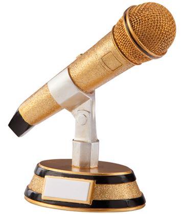 "Gold & Black Resin Karaoke Microphone Trophy 17.5cm (6.75"")"