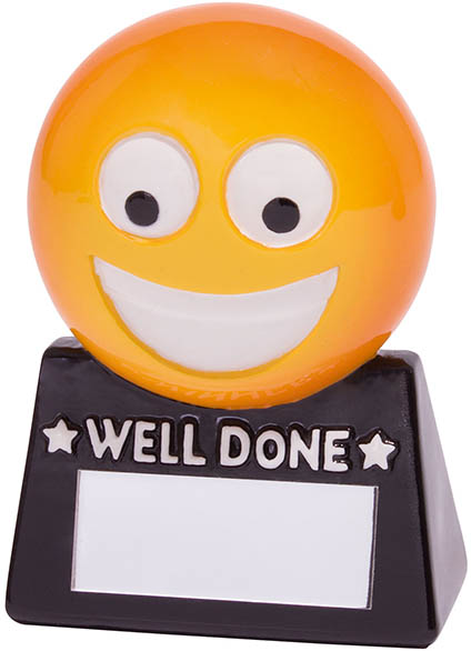 "Smiler Novelty Well Done Fun Trophy 8.5cm (3.25"")"