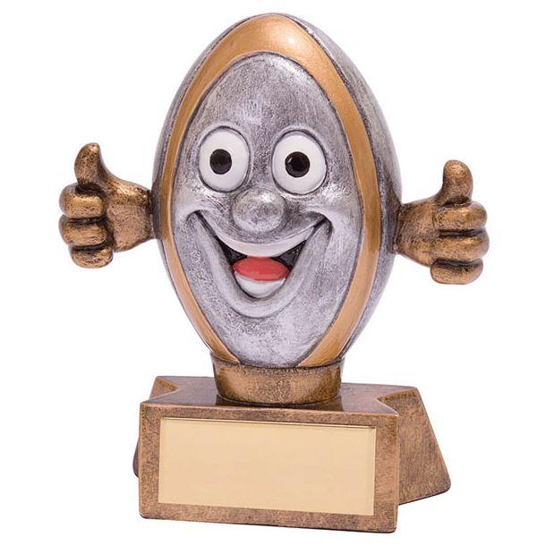 """Smiler Novelty Rugby Trophy 9.5cm (3.75"""")"""