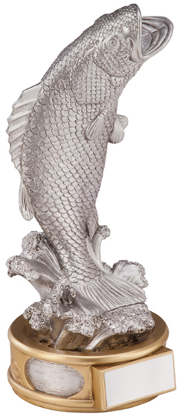 "Silver Resin Pinnacle Bass Fish On Reel Trophy 18cm (7"")"