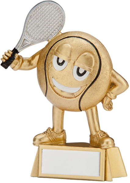 "Gold Resin Happy Little Tennis Ball trophy 9cm (3.5"")"