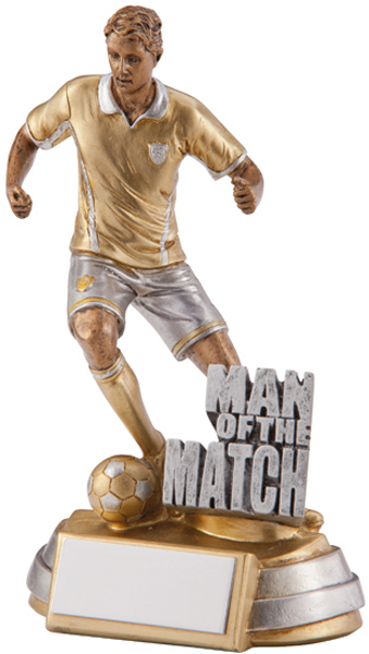 "Gold Resin Man Of The Match Football Player Trophy 13cm (5"")"