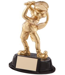 "Gold Resin Male Novelty Wonky Golfer Trophy 15cm (6"")"